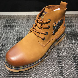 OEM Mens Leather Casual Boots For Motorcycle , Platforms Heel High Top Slip On Sneakers