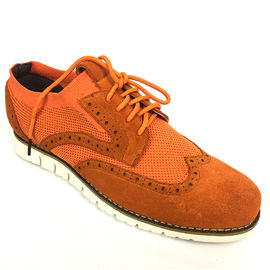Brown Suede Leather Mens Casual Flat Shoes , Lace Up Casual Sport Shoes